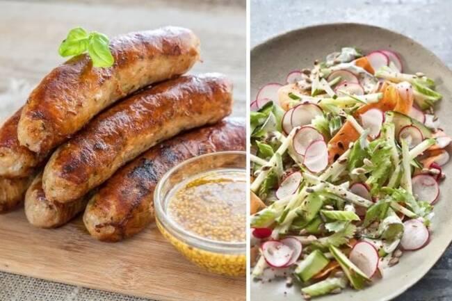 Recette Saucisses aux herbes, méli-mélo de légumes