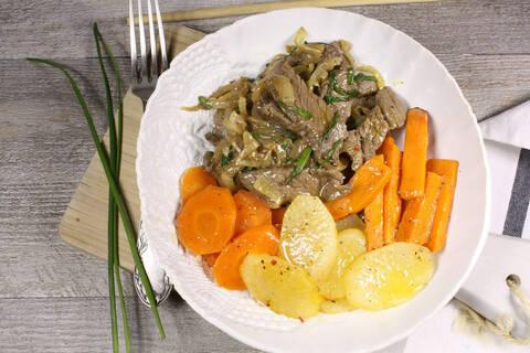 Recette de Boeuf à la cantonaise, poêlée de légumes