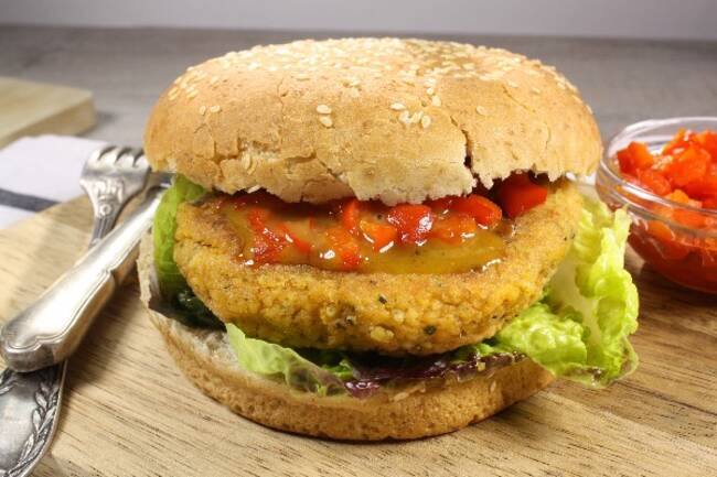 Recette Veggie Burger, sauce aux poivrons