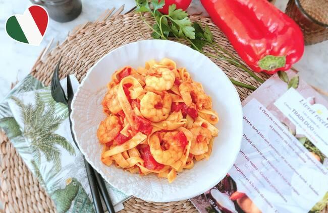 Recette Pâtes fraiches aux crevettes et à la tomate