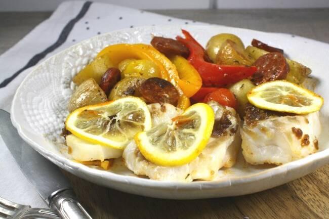Recette Églefin façon portugaise, légumes rôtis