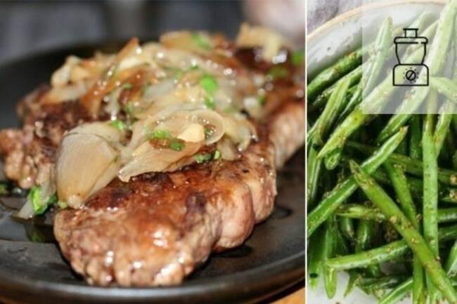 Recette Steaks à l'échalote haricots verts