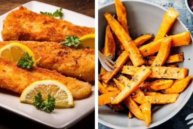 Recette Filet de poisson pané,  frites de légumes