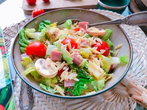 Recette de Salade de risones au jambon et au cantal