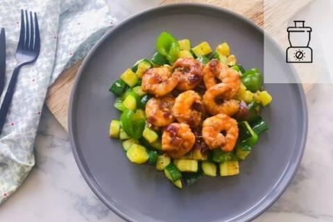 Recette de Wok de crevettes au tamarin,  courgettes