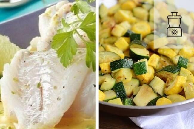 Recette Filet de merlan à la moutarde, courgettes