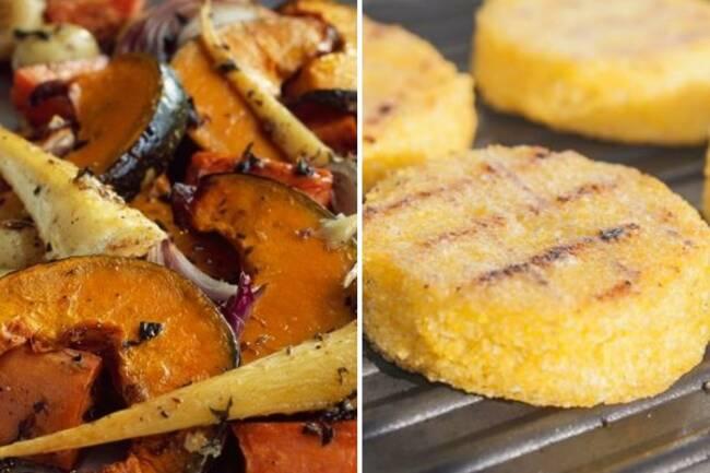 Recette Légumes oubliés rôtis, galettes de polenta
