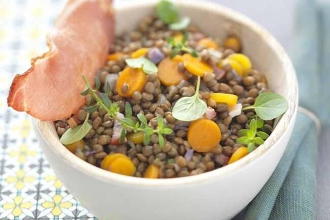 Recette Salade de lentilles, pommes, charcuterie