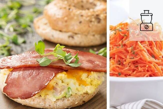 Recette Bagels aux œufs et au bacon,  carottes râpées