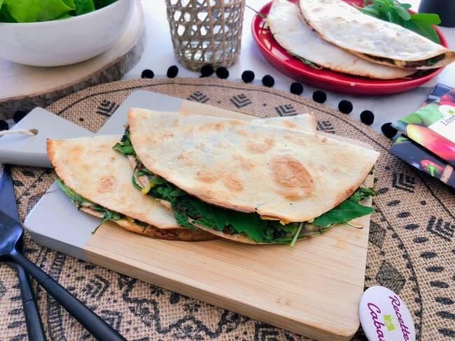 Recette Quesadillas gouda et épinards - Salade