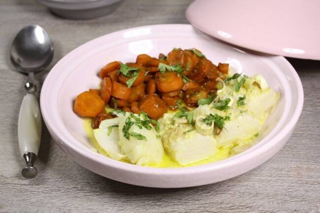 Recette Tajine de poisson au lait de coco, carottes