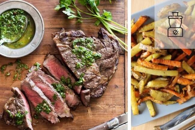 Recette Steaks sauce chimichurri, pommes de terre