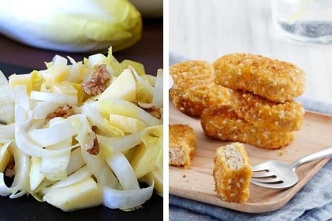 Recette Salade endives noix pommes-Nuggets végétarien