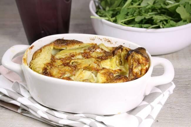 Recette Clafoutis de cœurs d'artichauts au gorgonzola - Salade de roquette