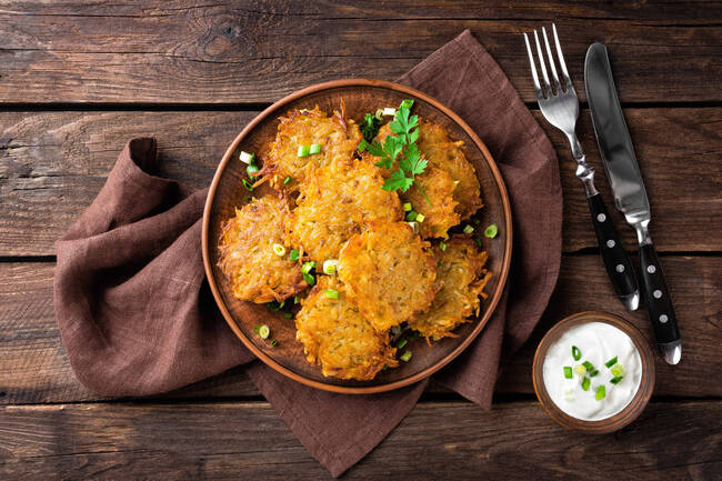 Recette Paillasson de pommes de terre et topinambours, salade d'endive (SG)