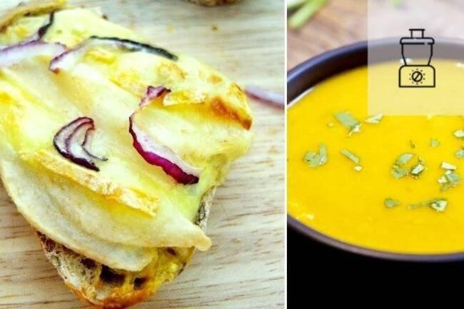 Recette Tartines reblochon-poire, velouté de carottes