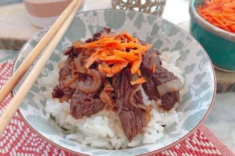 Recette de Gyudon japonais SG (bol de riz au bœuf)