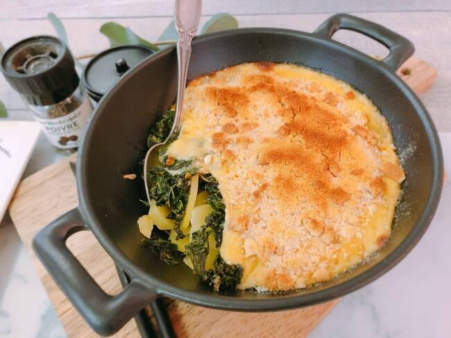 Recette Gratin pommes de terre et chou kale au cantal