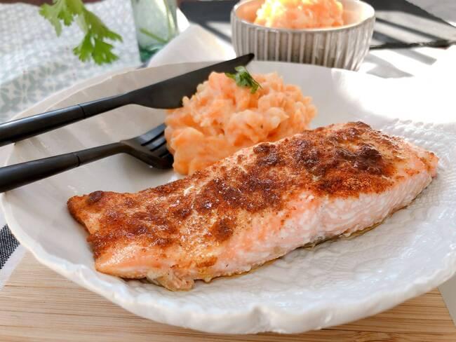 Recette Tandoori de saumon, purée de carottes et lent