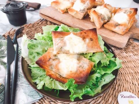 Recette de Brick aux pommes et au reblochon, salade vert