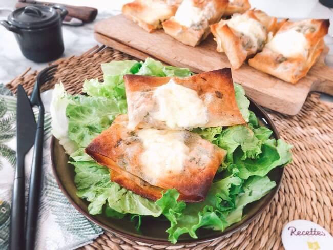 Recette Brick aux pommes et au reblochon, salade vert