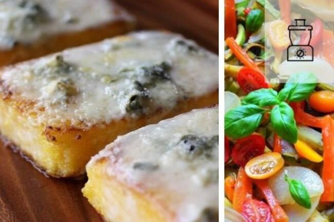 Recette Polenta au gorgonzola meli-melo de legumes cr