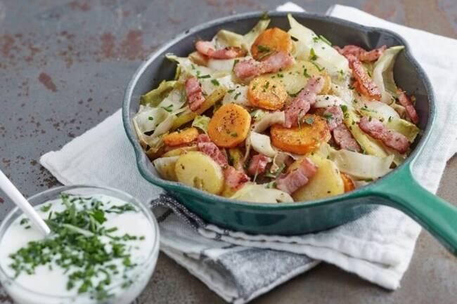 Recette Poelee de legumes aux lardons