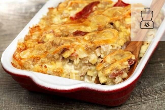 Recette Crozets au gorgonzola et bacon avec poireaux