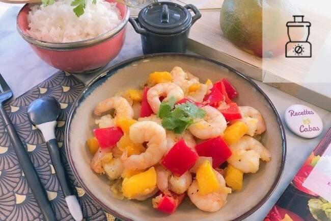 Recette Sauté de crevettes à la mangue et riz (SG)