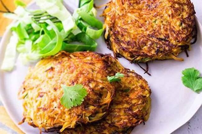 Recette Paillasson pomme de terre-carottes salade