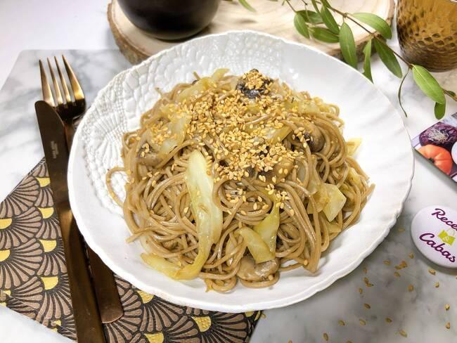 Recette Nouilles soba aux champignons et au chou doux