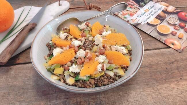 Recette Salade de lentilles poireaux noisettes