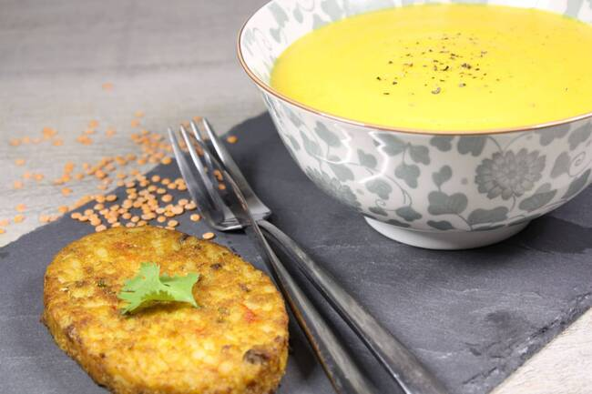 Recette Crème de lentilles corail - Galette de céréales