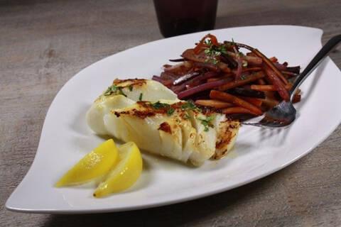 Recette de Cabillaud aigre-doux, carottes tricolores (SG)
