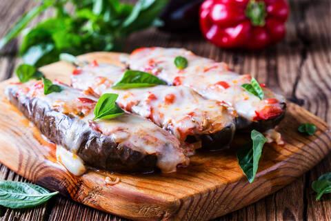 Recette de Aubergines roties, confit de tomates - Couscous