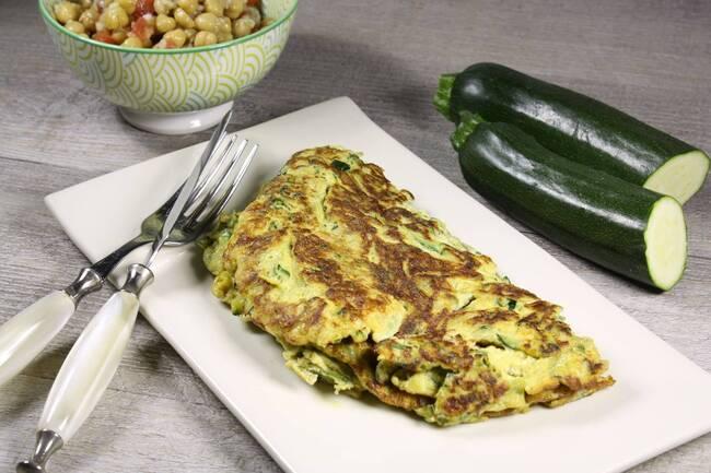 Recette Omelette aux courgettes, salade de pois chiches au cumin (SG)