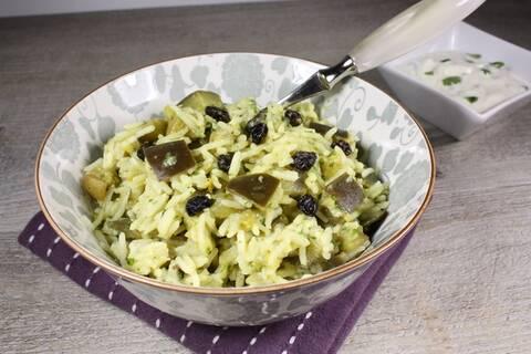 Recette de Biryani aux aubergines, riz thaï et raïta