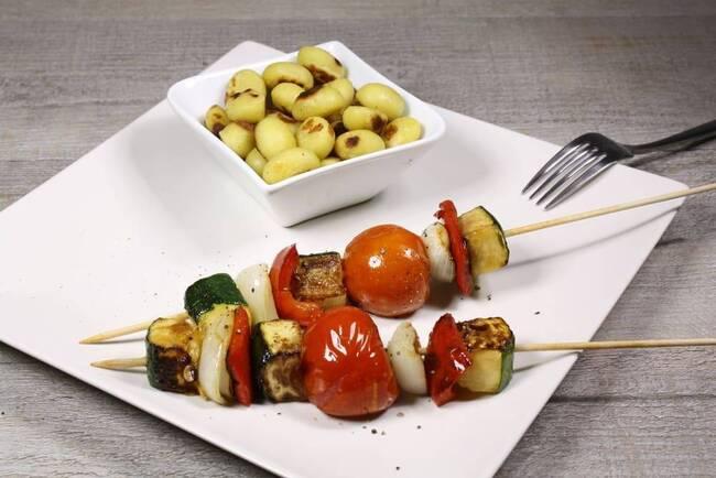 Recette Brochettes de légumes au barbecue, pommes de terre